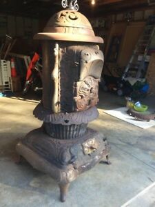 Indpls In Florence Hotblast No 155 Antique Wood Coal Cast Iron Parlor Stove