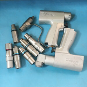 Used Stryker System 5 4205 4208 Two Trigger Rotary Handpiece With 7 Attachments