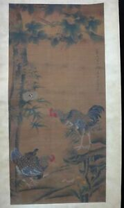 Very Long Rare Old Chinese Scroll Hand Painting Cocks Landscape Lidi Marks