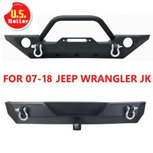 For 2007 2018 Jeep Wrangler Jk Rear Bumper Front Bumper With Winch Plate D Rings