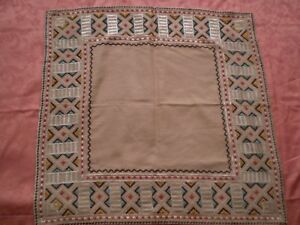 Vintage Hahd Embroidered Linen Tablecloth Embroidereo Silk Multi Color