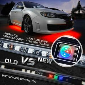 8 Color Rgb Led Strip Under Car Tube Underglow Underbody System Lights Kit Us