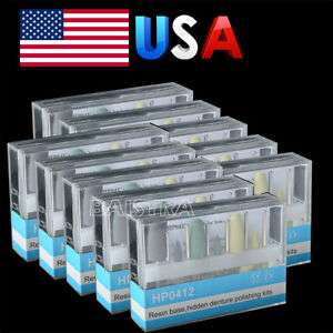 10 Box Dental Resin Base Hidden Denture Hp0412 Polishing Kit For Handpiece More