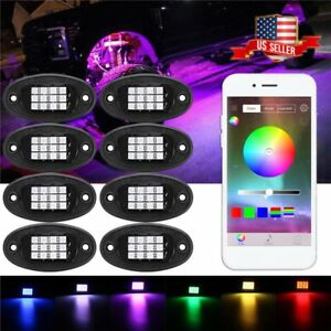8pcs Led Rock Lights Multi color Lamp For Car truck boat Bluetooth Wireless My