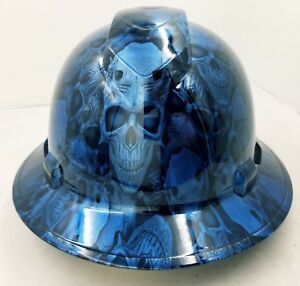 Full Brim Hard Hat Custom Hydro Dipped Candy Blue Demon Skull New Very Limited