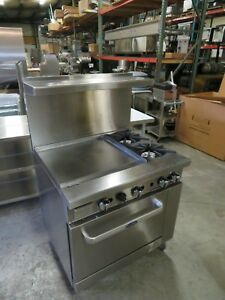 36 Inch Wide 3 Foot 2 Burner Range Top With Oven And 24 Left Side Griddle