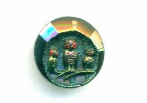 Antique Iridescent Black Glass Owl Picture Button Three Owls
