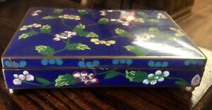 Antique Chinese Cloisonne And Enamel Blue Floral Divided Trinket Box