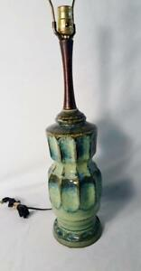 Mid Century Modern Teak Table Desk Lamp Green Drip Glaze Ceramic 1950 S Lamp