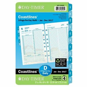 Day timer Daily Planner Refill 2017 Two Page Per Day Loose Leaf 5 7 16 X 8 1