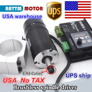 us 400w Dc Brushless Spindle Motor Er8 600w Nvbdl Driver 60v 55mm Clamp Cnc Kit
