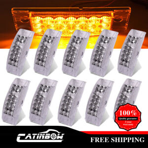 10x 6 Side Marker Clear amber Clearance Light Surface Mount 20led Light Trailer