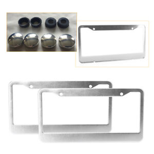 2x Stainless Steel License Plate Frame Tag Cover Screw Cap Silver Color
