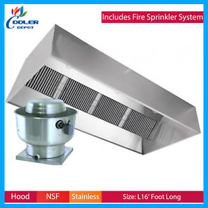 16 Ft Exhaust Hood Filter Kitchen Restaurant Commercial W fire System Type 1 New