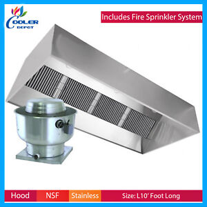 10 Ft Range Hood Exhaust Filter Kitchen Restaurant Commercial W Fire System New