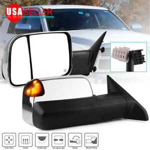 Left Right Power Heated Amber Led Signal Tow Mirrors For 09 12 Dodge Ram 1500