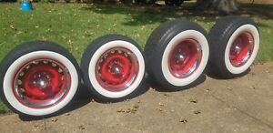 Artillery Wheels Red Chevy 5x4 75 5x4 5 15x7 And 15x10 White Walls Bullet Caps