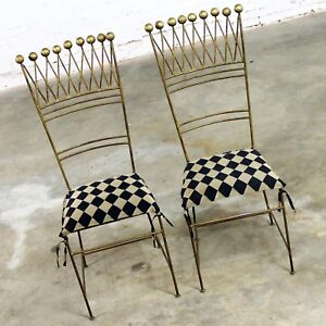 Pair Gilt Iron Chairs Crown Or Harlequin Style Ball Finials Art Deco Hollywood R