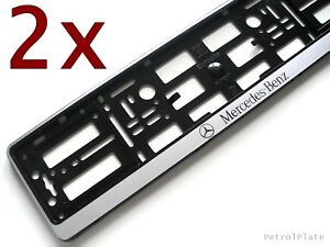 2x Silver Mercedes Benz Car Number Registration License Plate Holder Euro Frame