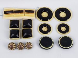 Lot Of 16 Plastic Celluloid Buttons Amber Black Beige