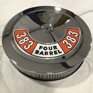 Chrome Air Cleaner White Filter 383 Orange Mopar Edelbrock Carburetors Holley