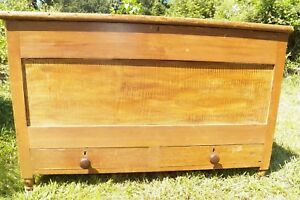 Antique Grain Painted Blanket Chest With Drawers Trunk Rustic Primitive