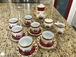 Antique Cosmos Imported 17 Piece Coffee Tea Set