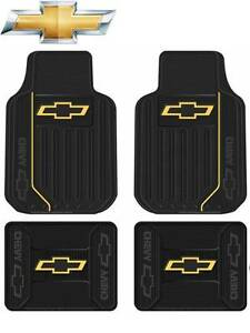 4 Pc Chevy Silverado 1500 2500 3500 Floor Mats Black Rubber Elite Style