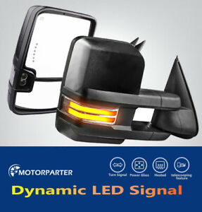 Lh Rh Power Heated Led Dynamic Signal Tow Mirrors For 14 18 Chevy Gmc 1500 2500