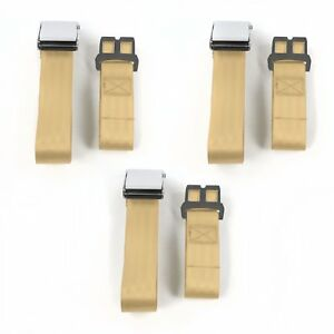 Chevy Cavalier 1982 1994 Airplane 2pt Tan Lap Bench Seat Belt Kit 3 Belts V8
