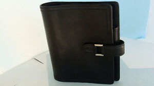 Compact 1 Rings Franklin Covey Planner binder Black Leather Snap usa Very Good