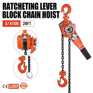 3 4 Ton Lever Block Chain Hoist Ratchet Type Come Along Puller 20ft Chain Lifter