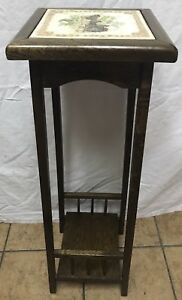 Antique Victorian Pedestal Plant Stand Table W Horse Carriage Inlaid Tile H 33