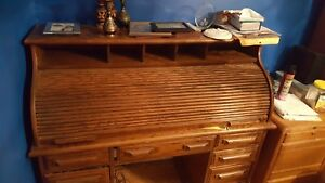 Large Solid Oak Roll Top Desk
