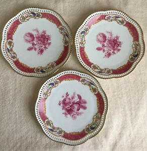 Set 3 Antique Bavaria Schumann 7 Plates Reticulated Scallop Roses Rare 1940 S