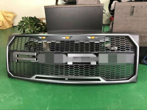 For Ford F150 2009 2014 Raptor Style Matt Gray Front Hood Bumper Grille Grill