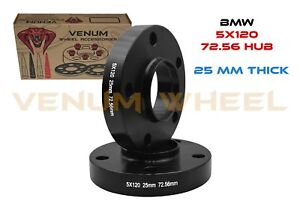 2 Pc 5x120 Bmw Black Hub Centric Wheel Spacers Only 72 56 Hub Bore 25mm Thick