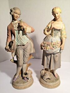 Pair Of Antique Bisque Porcelain Figurines 14 1 2 High French Signed