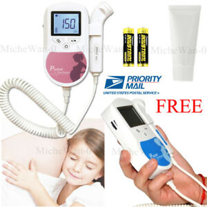 Baby Sound Prenatal Fetal Doppler Heart Beat Monitor gel 3m Probe battery usa