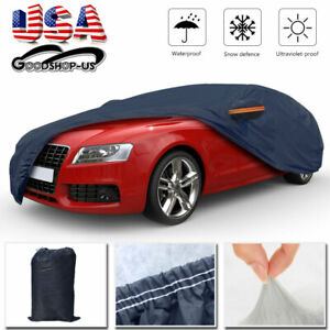 Full Car Cover Waterproof Universal Fit Breathable All Weather Protection Gray