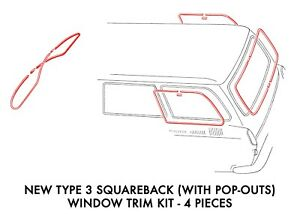 New Vw Type 3 Squareback With Popout Window Molding Kit 1964 1973