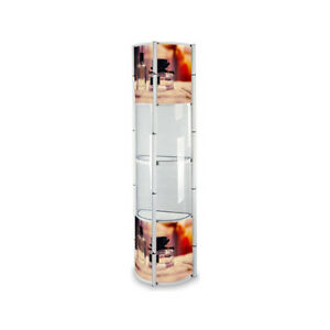 Aluminum Alloy 5 Rings Potable Twister Tower Display Trade Show Case Display