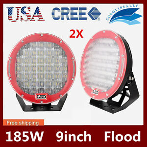 2x 9inch 185w Cree Led Work Driving Light Offroad Flood Bumper Lamp 4wd Jeep Red