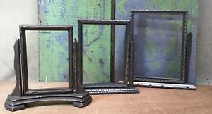 Lot Of 3 Deco Nouveau Vintage Wooden Picture Frames Tilt Stand Silver Gold