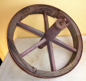 Antique Primitive Wood Wooden Cast Iron Strap Wagon Wheel 20 Rustic Farm Decor