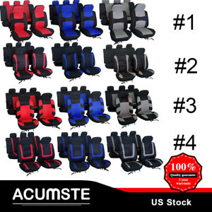 Universal Car Seat Covers Full Set For Auto W Steering Wheel Belt Pad Head Rest