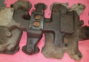 Olds J2 Tri Power 1958 Intake Manifold With Outer Carb Block Off Plates