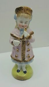 Staffordshire Victorian Figurine Antique 1890 S Little Girl With Porridge Bowl