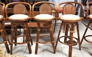 5 Vtg Mid Cent Bamboo Rattan Bentwood Cane Back Swivel Counter Bar Stools