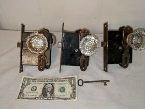 3 Sets Antique Glass Doorknobs Penn Mortise Lock Brass Face Plates Working Key